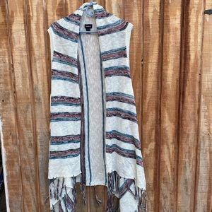 TORRID sleeveless open striped cardigan